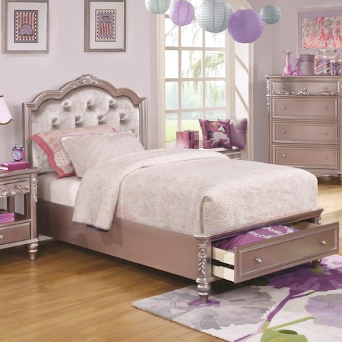Coaster Caroline Twin Size Storage Bed w/ Diamond Tufted Headboard