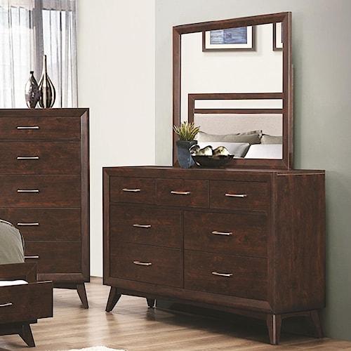 Coaster Carrington 7 Drawer Dresser & Mirror with Wood Frame