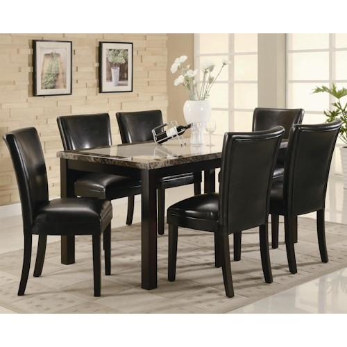 Coaster Carter 7 Piece Dining Table Set with Upholstered Chairs