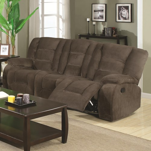 Coaster Charlie Brown Motion Reclining Sofa with Casual Style