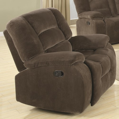 Coaster Charlie Casual Rocker Recliner in Soft Brown Upholstery