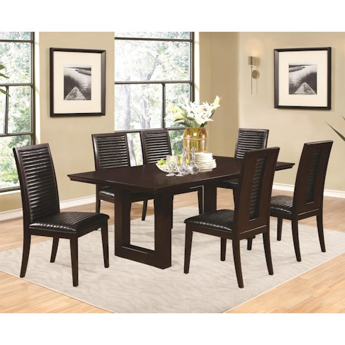 Coaster Chester 7 Piece Pedestal Chair and Side Chairs Set