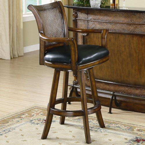 Coaster Clarendon Traditional Bar Stool with Leather Seat