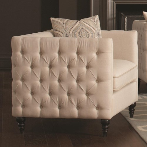 Coaster Claxton Traditional Tuxedo Chair with Tufting