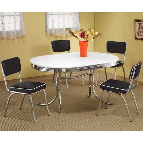 Coaster Cleveland 5 Piece Chrome Plated Dining Set