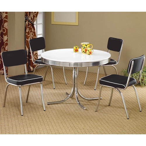 Coaster Cleveland 5 Piece Round Dining Table & Upholstered Chairs