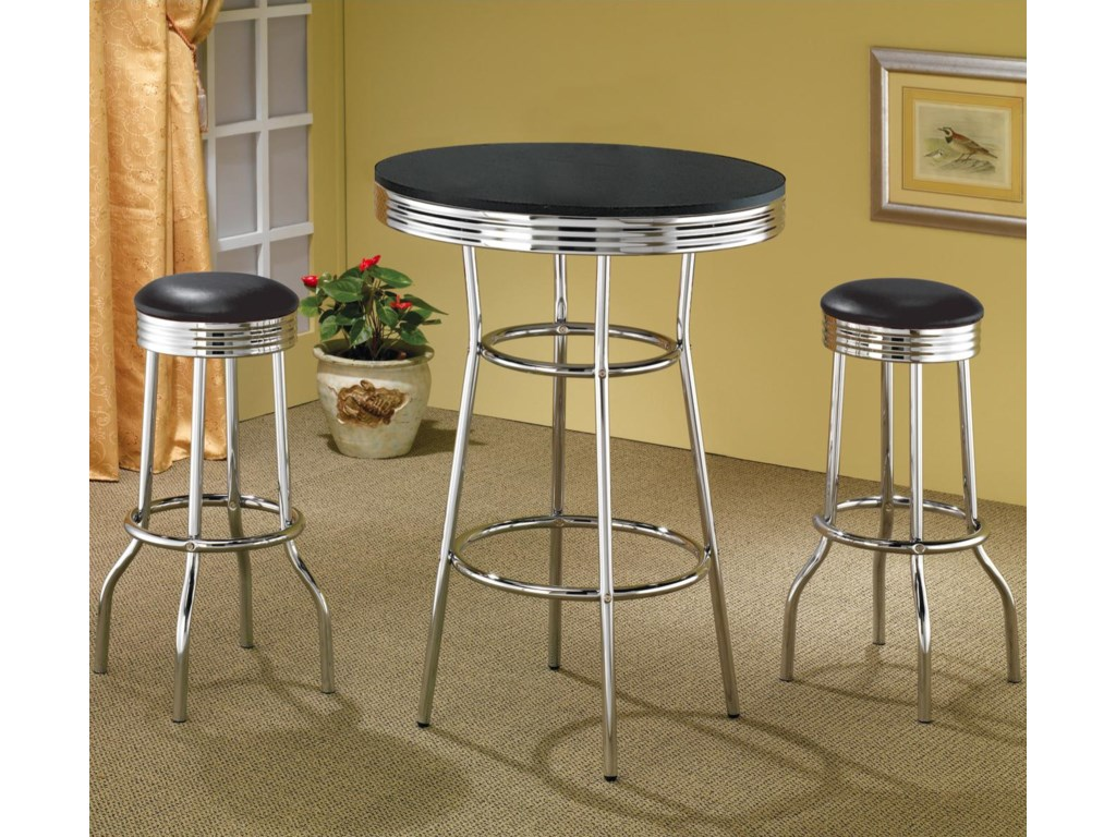 Black Bar Table Shown with Black Bar Stools