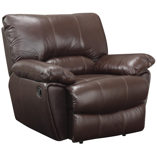 Coaster Clifford Brown Leather Power Recliner with Pillow Arms