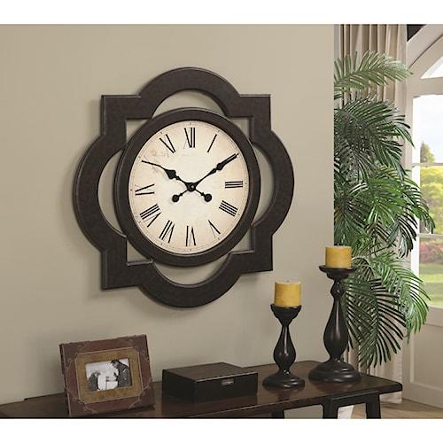 Coaster Clocks Cappuccino Wall Clock with Roman Numerals