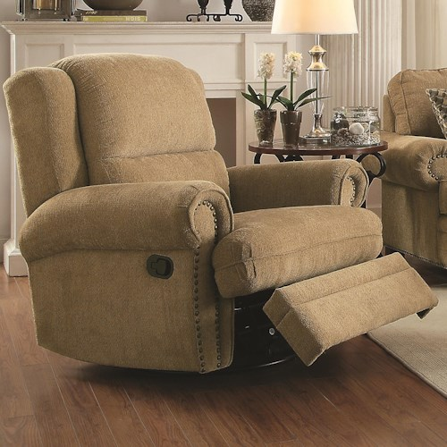 Coaster Colton Traditional Recliner with Rolled Arms and Nailhead Trim