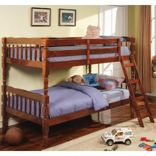 Coaster Corinth Twin Bunk Bed with Ladder