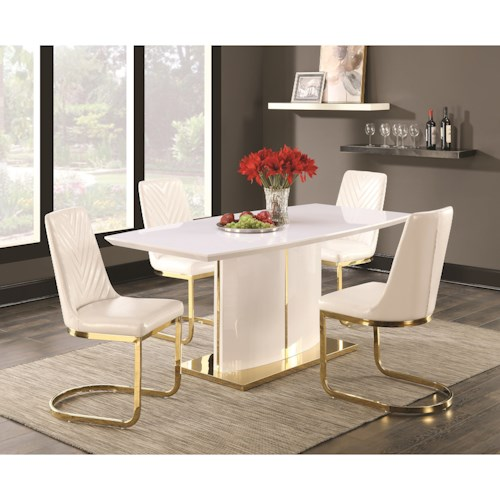 Coaster Cornelia Contemporary 5 Piece Dining Set with 24K Gold Detail