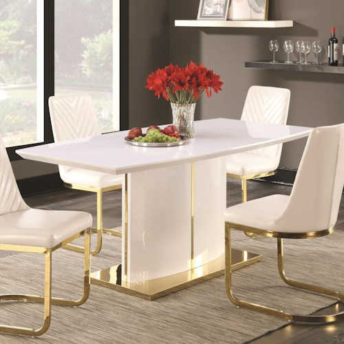 Coaster Cornelia Contemporary Boat Shape Dining Table with 24K Gold Detail