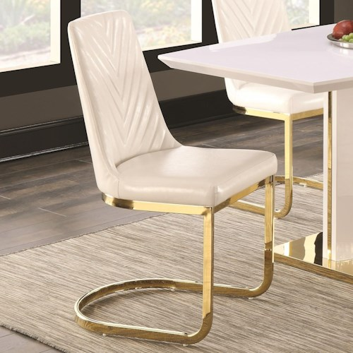 Coaster Cornelia Contemporary Dining Side Chair with 24K Gold Detail