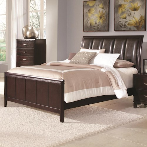 Coaster Coventry Transitional Queen Sleigh Bed with Vinyl Upholstery