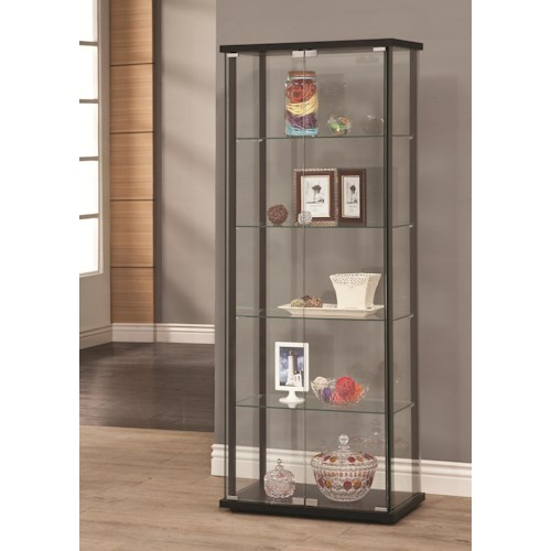 Coaster Curio Cabinets 5 Shelf Contemporary Glass Curio Cabinet