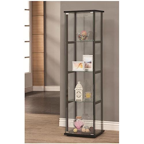 Coaster Curio Cabinets 4 Shelf Contemporary Glass Curio Cabinet