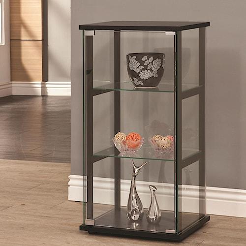 Coaster Curio Cabinets 3 Shelf Contemporary Glass Curio Cabinet