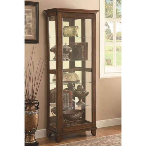 Coaster Curio Cabinets 5 Shelf Curio Cabinet with Warm Brown Finish & Mirrored Back