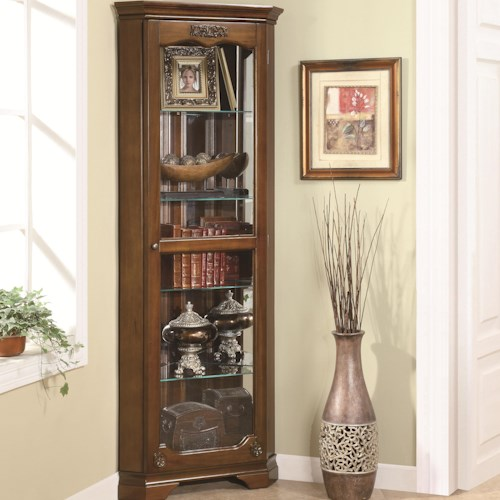 Coaster Curio Cabinets 5 Shelf Corner Curio with 1 Door & Acanthus Leaf Top