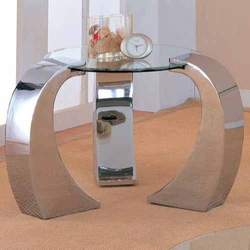 Coaster Custer Contemporary Metal End Table with Round Glass Top