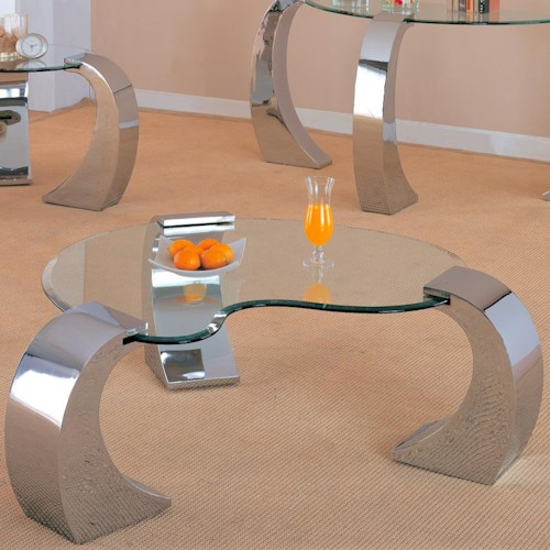 Coaster Custer Contemporary Cocktail Table with Metal Base and Kidney Glass Top