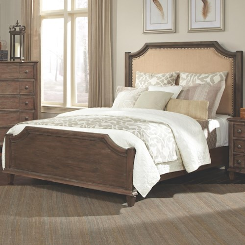 Coaster Dalgarno King Bed with Upholstered Headboard and Curved Details
