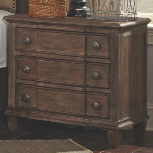 Coaster Dalgarno Nightstand with 3 Drawers and Tapered Feet