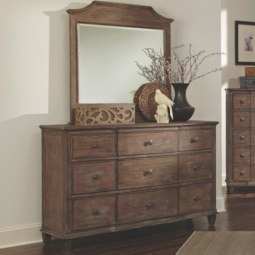 Coaster Dalgarno Dresser with 9 Drawers and Tapered Feet and Mirror Set
