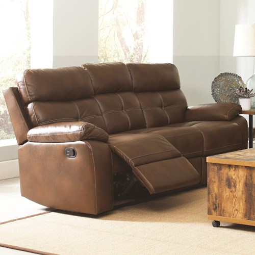 Coaster Damiano Casual Faux Leather Reclining Sofa with Button Tuft Detailing