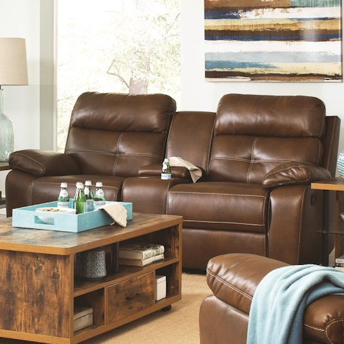 Coaster Damiano Casual Faux Leather Reclining Loveseat with Button Tuft Detailing and Cupholder Storage Console