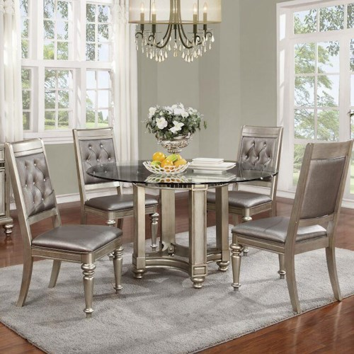 Coaster Danette 5 Piece Round Glass Table & Chair Set