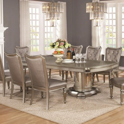 Coaster Danette - -181734809 Double Pedestal Dining Table with Leaf