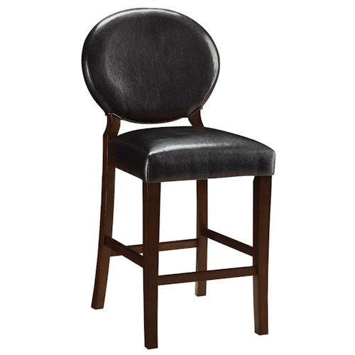 Coaster Daphne Dark Brown Vinyl Counter Height Chair with Oval Backrest