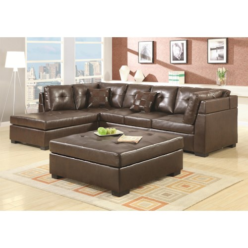 Coaster Darie Leather Sectional Sofa with Left-Side Chaise