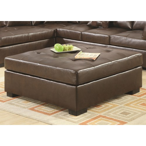 Coaster Darie Leather Cocktail Ottoman with Tufting