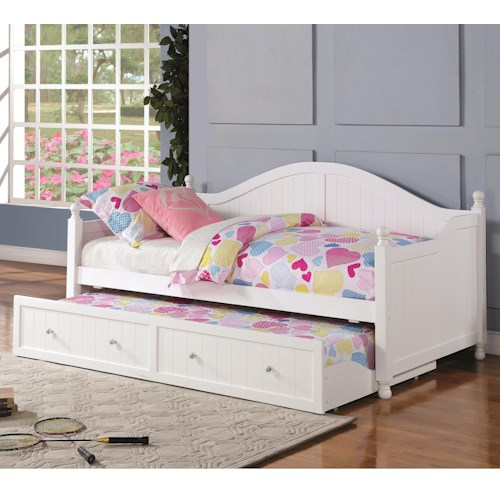 Coaster Daybeds by Coaster White Wooden Daybed with Trundle