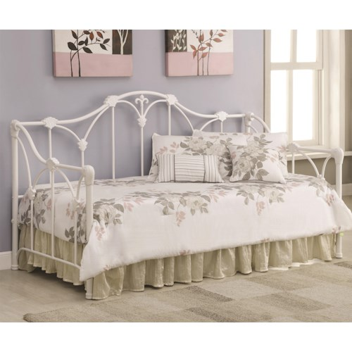 Coaster Daybeds by Coaster Daybed with Floral White Frame