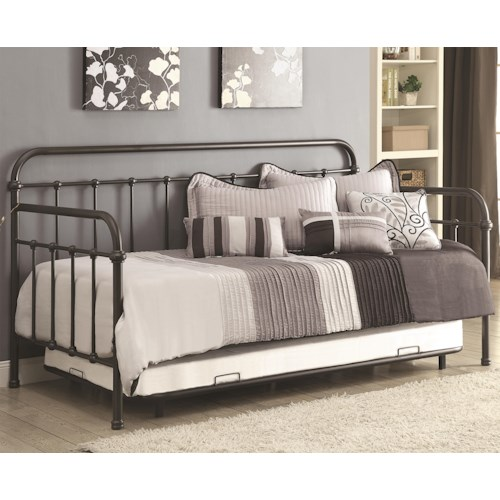 Coaster Daybeds by Coaster Daybed with Trundle and Metal Frame