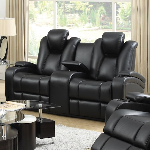 Coaster Delange Reclining Power Loveseat with Adjustable Headrests & Storage in Armrests