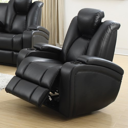 Coaster Delange Power Recliner with Adjustable Headrest & Storage in Armrests