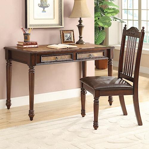 Coaster Desks Traditional Table Desk & Side Chair Set