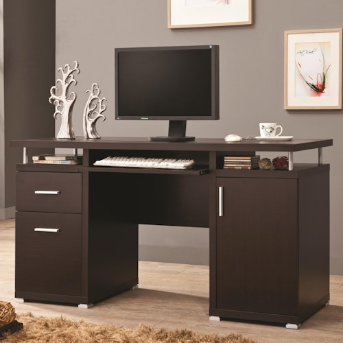 Coaster Desks Cappuccino Computer Desk with 2 Drawers & Cabinet