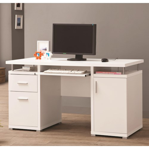 Coaster Desks White Computer Desk with 2 Drawers & Cabinet