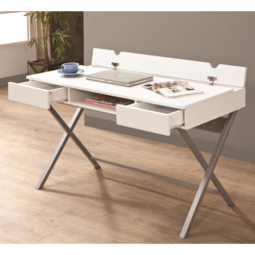 Coaster Desks Connect-It Desk (White) with Built-in Outlet/Storage Compartment