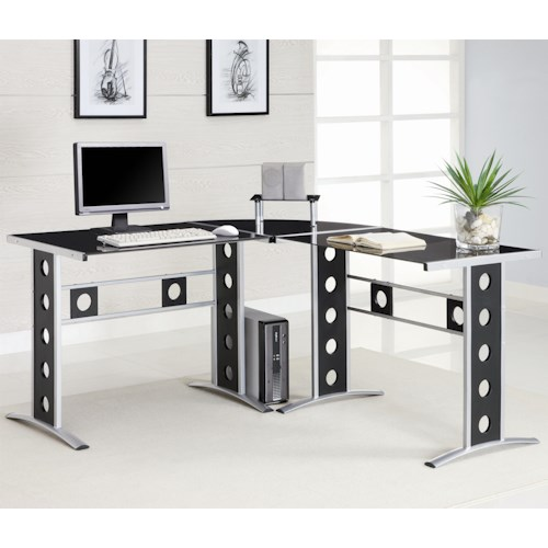 Coaster Desks Modern L Shape Desk with Silver Frame & Black Glass
