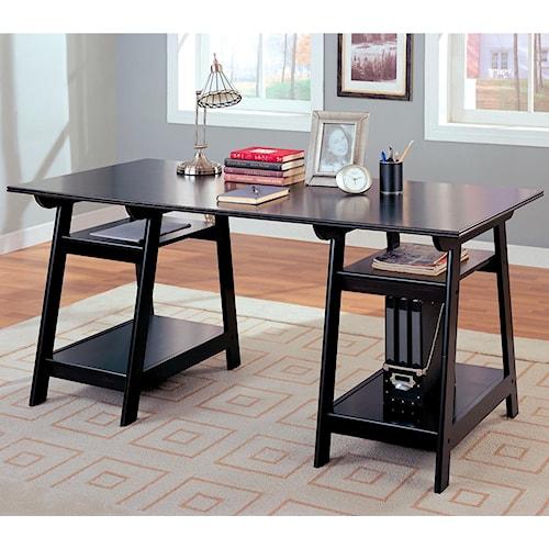 Coaster Desks Casual Double Pedestal Desk with Open Shelves