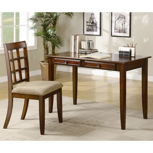 Coaster Desks Wood Table Desk with Two Drawers & Desk Chair