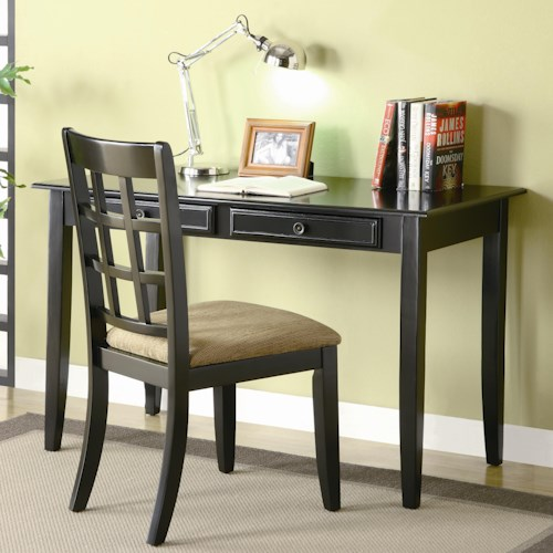 Coaster Desks Table Desk with Two Drawers & Desk Chair