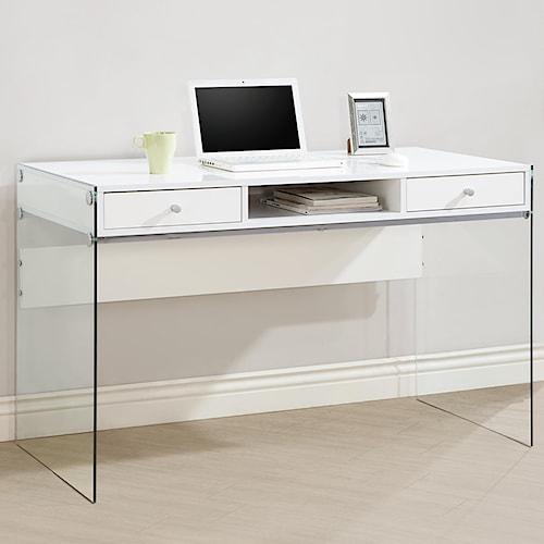 Coaster Desks Modern Computer Desk with Glass Sides